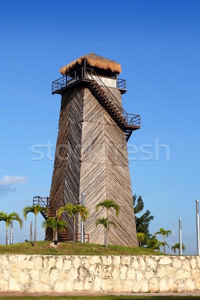 Cancun öreg repülőtér irányítás torony fából készült Stock fotó © lunamarina