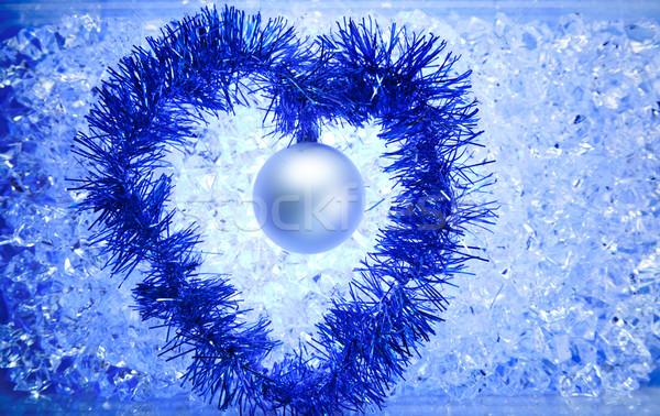 Weihnachten Silber Spielerei Herzform blau Winter Stock foto © lunamarina