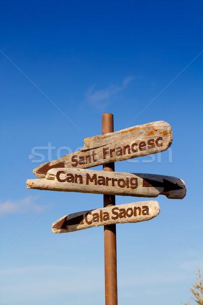 Formentera wood road signs Sant Francesc Stock photo © lunamarina