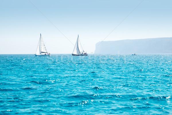 Boten zeil regatta zeilboten middellandse zee zee Stockfoto © lunamarina