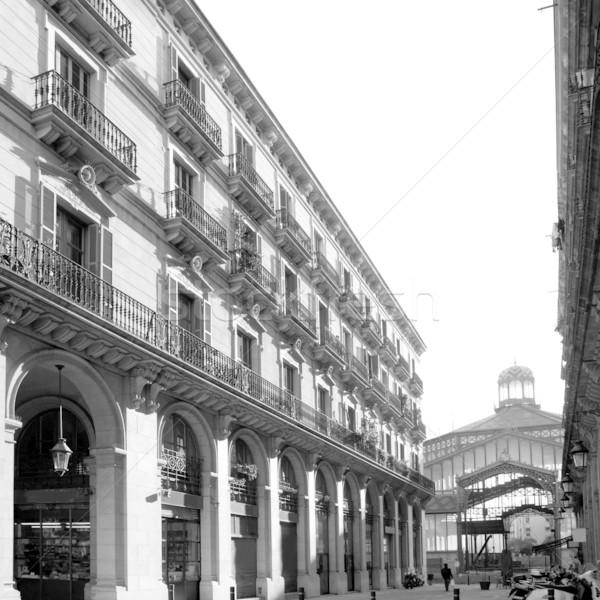 Barcelona piac homlokzat épület utca városi Stock fotó © lunamarina