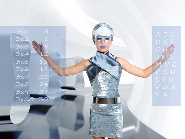 futuristic student children girl touch finger maths and abc Stock photo © lunamarina