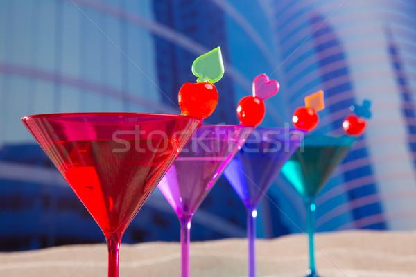 Kleurrijk cocktail rij kers zand stedelijke Stockfoto © lunamarina