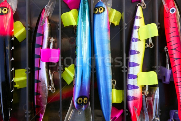 Colorful fishing saltwater fish lures box Stock photo © lunamarina