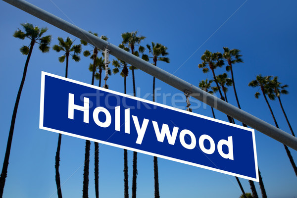 Hollywood California cartello stradale alberi foto cielo Foto d'archivio © lunamarina