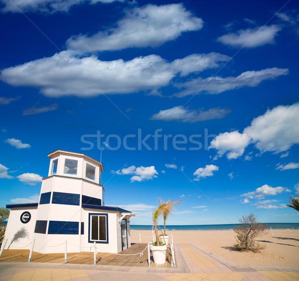 Piasek na plaży morze Śródziemne morza Hiszpania chmury krajobraz Zdjęcia stock © lunamarina
