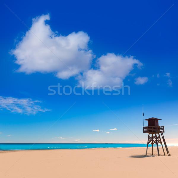 Strand Valencia Spanje badmeester huis middellandse zee Stockfoto © lunamarina