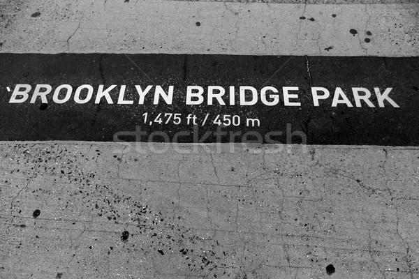 Brooklyn bridge Park signl painted on floor in NY Stock photo © lunamarina