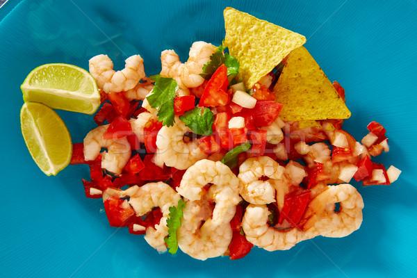 Camarón comida mexicana azul placa alimentos restaurante Foto stock © lunamarina