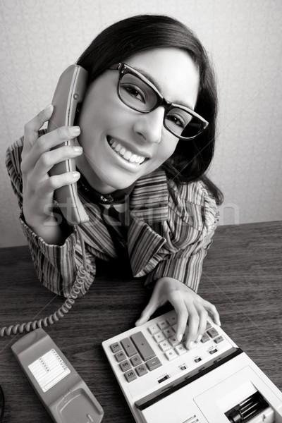 Foto d'archivio: Retro · segretario · grandangolo · umorismo · telefono · donna