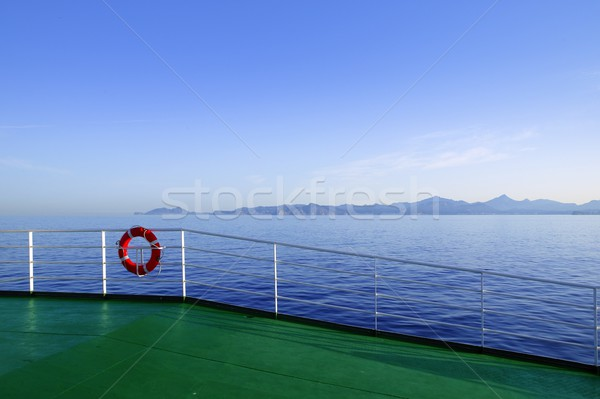 Boat green deck with Ibiza island mountains Stock photo © lunamarina