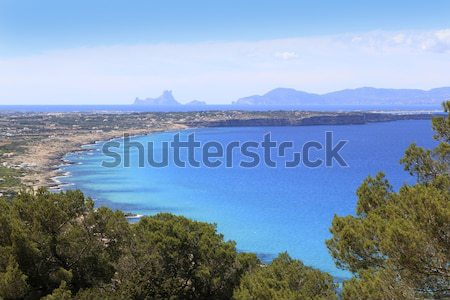 aerial view Formentera balearic island Ibiza horizon Stock photo © lunamarina