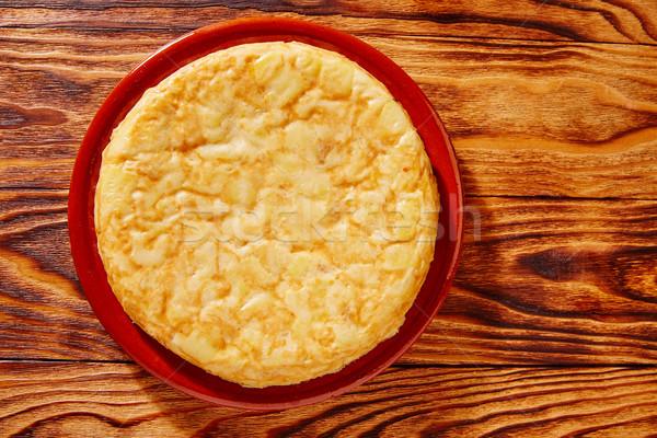 Tapas tortilla patates ahşap masa yağ akşam yemeği Stok fotoğraf © lunamarina