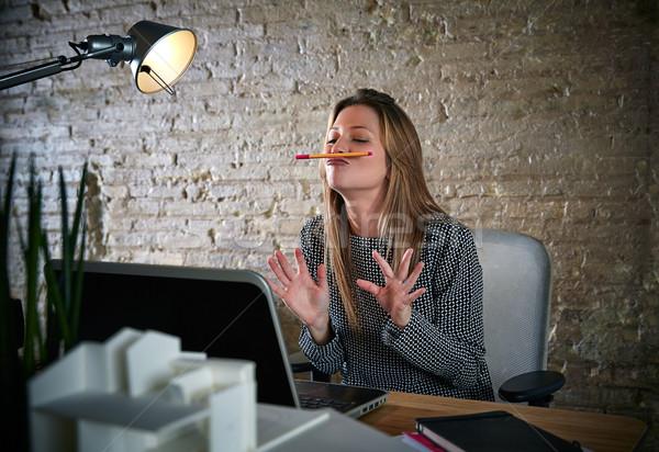 смешные деловая женщина чате карандашом усы ноутбука Сток-фото © lunamarina