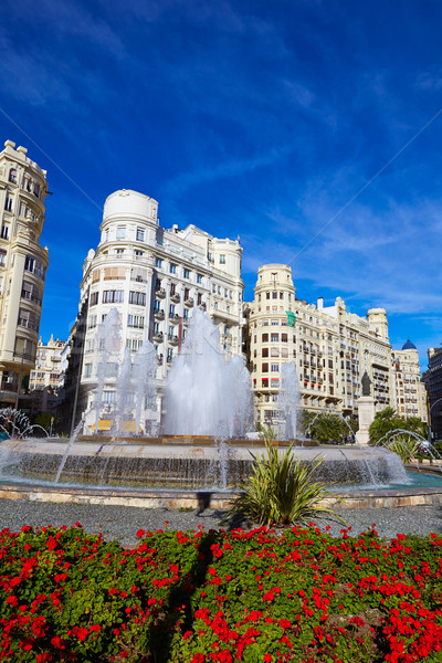 Stockfoto: Valencia · stad · vierkante · fontein · Spanje · bloemen