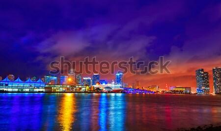 Miami centre-ville Skyline coucher du soleil Floride USA Photo stock © lunamarina