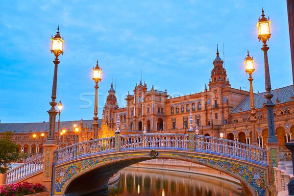日没 スペイン 広場 光 旅行 日の出 ストックフォト © lunamarina