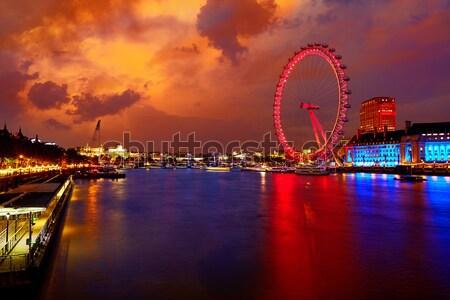 London naplemente Temze folyó Big Ben Anglia Stock fotó © lunamarina