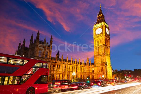Big Ben reloj torre Londres autobús puesta de sol Foto stock © lunamarina