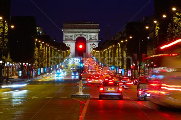 Триумфальная арка Париж арки триумф закат Франция Сток-фото © lunamarina