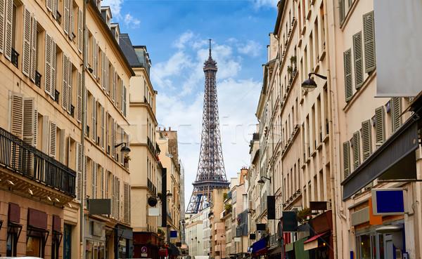 Eyfel Kulesi Paris Fransa Bina şehir gün batımı Stok fotoğraf © lunamarina
