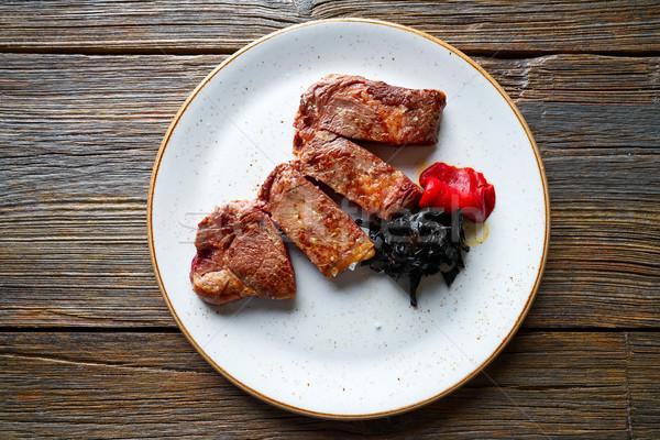 Foto d'archivio: Alla · griglia · carne · peperoni · cucina · piatto · mangiare