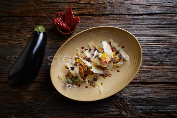 Padlizsán sajt recept olasz étel fa asztal vacsora Stock fotó © lunamarina