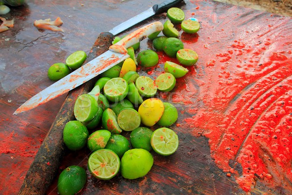 achiote knifes and lemons for achiote tikinchick sauce Stock photo © lunamarina