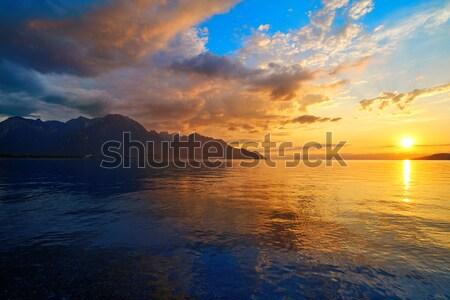 Stok fotoğraf: Göl · gün · batımı · İsviçre · bulutlar · manzara