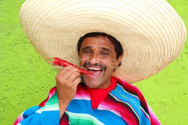 Stock fotó: Mexikói · férfi · szombréró · eszik · piros · forró