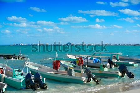 Сток-фото: Мексика · пляж · лодках · Карибы · морем · воды