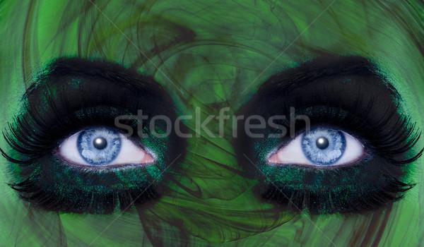 Resumen ojos azules maquillaje mujer verde textura Foto stock © lunamarina