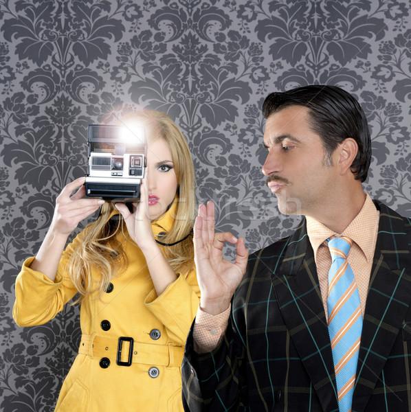 geek mustache man reporter fashion girl photo shoot Stock photo © lunamarina