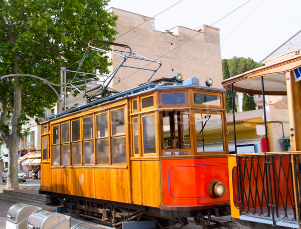 Classic wood tram train of Puerto de Soller in Mallorca Stock photo © lunamarina