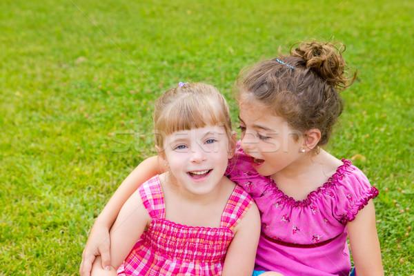 Stock photo: children girls hug in green grass park