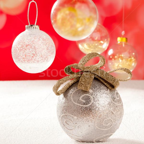Christmas srebrny cacko złoty pętla śniegu Zdjęcia stock © lunamarina
