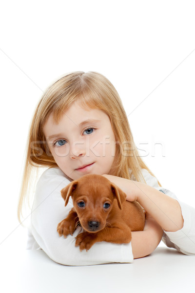 Blond enfants fille chien chiot mini Photo stock © lunamarina