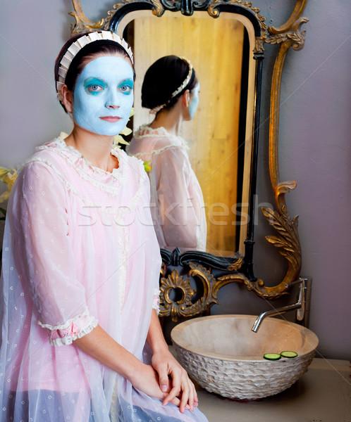 Vicces háziasszony szépségápolás zöld agyag maszk Stock fotó © lunamarina