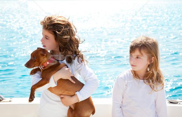 Zus kid meisjes hond zee klein Stockfoto © lunamarina