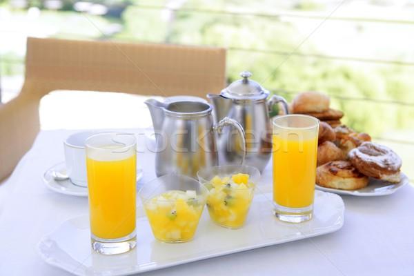 Stockfoto: Ontbijt · sinaasappelsap · koffie · thee · melk · bakkerij