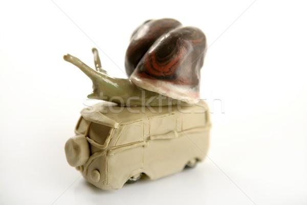 Handmade plasticine vw van with snail over Stock photo © lunamarina