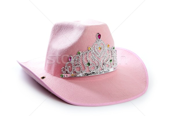 Children girl pink cowgirl crown hat Stock photo © lunamarina