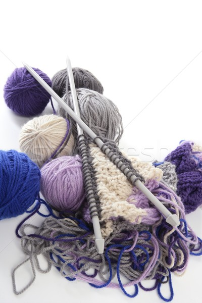 knitting tools with wool thread balls Stock photo © lunamarina