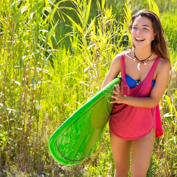 Barna hajú szörfös lány sétál dzsungel szörfdeszka Stock fotó © lunamarina