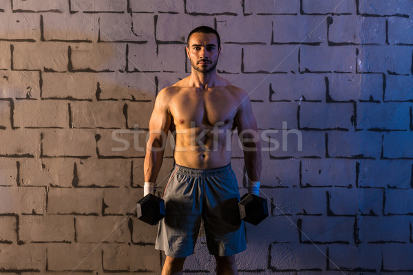 gym man holding hex dumbbells with muscles Stock photo © lunamarina