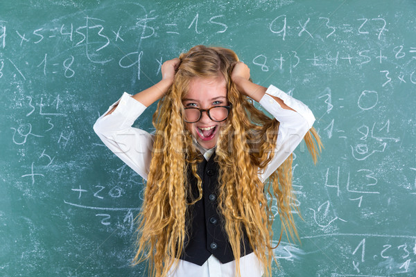 Stock photo: Crazy nerd blond student girl hold hair surprised
