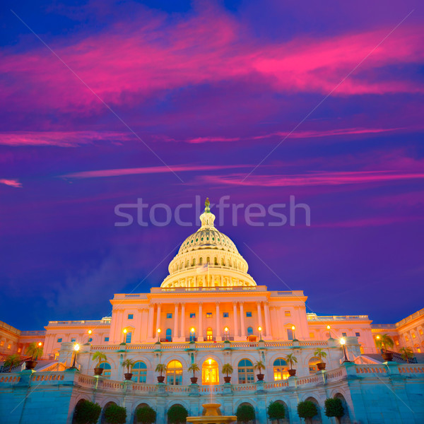 здании Вашингтон закат конгресс США дома Сток-фото © lunamarina