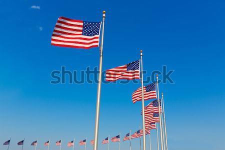 Монумент Вашингтона флагами район город синий путешествия Сток-фото © lunamarina