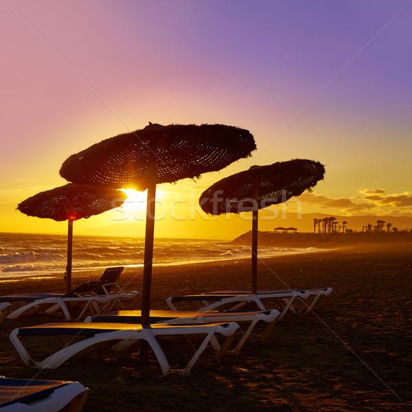 Almeria Cabo de Gata sunset in Retamar beach Stock photo © lunamarina