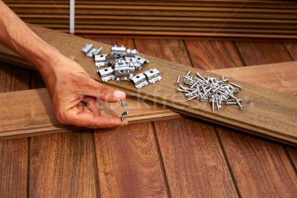 Zdjęcia stock: Pokład · drewna · instalacja · tekstury · domu · pracy